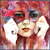 kaleidoscope_eyes: A painting of a woman holding a mask to her face. (painted mask)