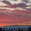 hooloovoo: sunset, with clouds and hooloovoo written in blue at the bottom. (Default)