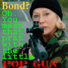 needled_ink_1975: Helen Mirren in RED2, holding sniper rifle. Text reads: Bond? Oh. You mean that prat with the little POP GUN (Rem 700 .300WIN AICS, RED2, Helen Mirren)