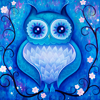 pipisafoat: a stylized blue owl on an equally stylized blue background (swirly owl)