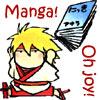 chomiji: A chibi cartoon of Hotaru from the manga Samurai Deeper Kyo, with a book. Caption: Manga Joy (Manga joy!)