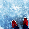 theresistance: Red sneakers against a frozen ground (Guardian)