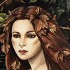 shotboxer: Close up of the face of a pale woman with dark hair and red leaves in her hair (Default)