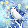 sashajwolf: drawing of a white owl surrounded by candles in a snowy forest (yule owl)