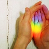 sashajwolf: cupped hands holding rainbow light (rainbow hands)