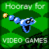 "kjorteo: Screenshot of the snake from Snake, Rattle & Roll looking excited, with the caption ""Hooray for video games!"" (Hooray for video games!)"
