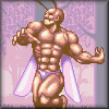 kjorteo: Screenshot from Cho Aniki, of a macho-camp bodybuilder with fairy wings and antennae. (Cho Aniki)