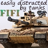 fififolle: fifi is easily distracted by tanks! (fifi - tanks)
