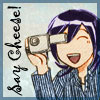 chomiji: Modern AU Chibi of Yukimura from Samurai Deeper Kyo, taking a photo with a compact camera.  Caption: Say Cheese! (Yuki-photos)