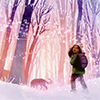 skygiants: Hazel, from the cover of Breadcrumbs, about to venture into the Snow Queen's forest (into the woods)