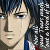 chomiji: Kyoshirou from Samurai Deeper Kyo, weeping.  Caption: Nor all your tears wash out a word of it o (Kyoushirou-tears)