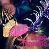 turlough: pink & yellow coctail umbrellas and other sparkly drink decorations used as hair ornaments ((other) camp sparkle!)