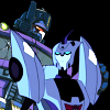 swordage: TFA Blurr and Shattered Glass Optimus, with noncon touching. (tf Blurr and evil Prime)