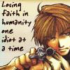 chomiji: Sanzo from Saiyuki, firing his gun.  Caption: Losing faith in humanity, one idiot at a time (Sanzo - humanity)