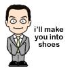 pensnest: cartoon Jim Moriarty, caption 'i'll make you into shoes' (Moriarty evil intent)