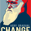 "ahorbinski: A picture of Charles Darwin captioned ""very gradual change"" in the style of the Obama 'Hope' poster.  (Darwin is still the man.)"