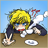 cashew: Nokoru looking drained with a steaming cup of tea and his fingers up in a victory sign (CCD // exhausted)