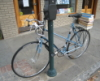 zirconium: of blue bicycle in front of Blue Bicycle Books, Charleston (blue bicycle)