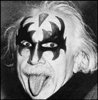 yaspis: Albert Einstein, wearing KISS-inspired face paint, and sticking his tongue out. (Einstein)