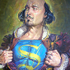yaspis: Shakespeare exposing a shirt emblazoned with a Superman-style 'S'. (Shakespeare)