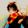 laceblade: fanart of Harry Potter in Gryffindor scarf, Hedwig landing on his outstretched arm (HP: Hedwig)
