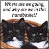 chomiji: Two kittens in a basket.  Caption: Where are we going, and why are we in this handbasket? (Kittens-In Handbasket)