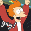 pipisafoat: fry (tv: futurama) excited with arms in the air. text: yay! (yay!)