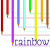canadian_jay: Pic of coloured pencils, text reads 'Rainbow'. (Rainbow!)