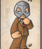 el_enmascarado_de_plata: Fanart of Santo in his silver mask and brown suit and pants (chibi inna suit (color - drawn))