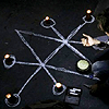 queenofhell: The sigil of Azazel drawn in chalk on the floor, with a man crouched near it. (Sigil) (Default)