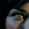 queenofhell: A close up of a possessed woman's eye, which is pure yellow. (Possession)