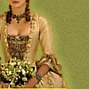 princesse_incongrue: an 18th century robe à la française in gold silk, its wearer clutching a thick bouquet (panniers)
