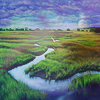 cinco: Landscape shot with blue lighting of streams and grass (nature: watercolor streams)