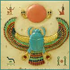 sunscarab: A jewel and mosaic scarab with frontal arms reaching for a sun, on a wall with hieroglyphics. (scarab)