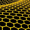 graphene: Glowing yellow graphene cellular structure outlines on a black background. They are nice little hexagons. :) (Default)