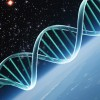 graphene: A blue-tinted DNA strand in the forefront, the edge of a blue planet and the galaxies beyond. (DNA)