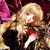 dchan: A blonde woman with fairy wings in a cage holding a mechanical heart (artificial heart)