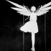 dchan: A white silhouette on a black background of a girl with mechanical  wings (suu silhouette)