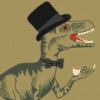 nightmachinery: A raptorish dinosaur with a top-hat, bowtie, and teacup. (Echo - Steampunk Raptor)