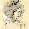 phoenix: ink-and-watercolour drawing -- girl looking calmly over her shoulder (Default)