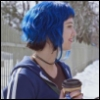 ambersweet: Ramona Flowers with blue hair drinking coffee (Ramona - coffee (blue))
