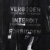 "queenofhell: Text ""verboden, interfit, forbidden"" on a scruffed, metallic looking surface. (Forbidden)"
