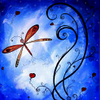 acari: painting | red butterfly on blue background with swirly ornaments (Default)