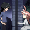 fairytaleknight: Fakir and Duck, talking to each other across a gate ((ahiru) opposite sides of gate)