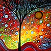 weepingnaiad: Winter tree in front of colorful bubbles (Sunset Tree with Bubbles)