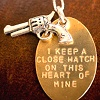 "recessional: necklace with a pistol charm and a flat charm reading ""I keep a close watch on this heart of mine."" (personal; outrun my brother)"