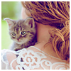 sweet_nothings: a girl with a cute kitten snuggled against her shoulder (kitten)