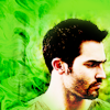 majoline: green background, Derek Hale from Teen Wolf looking toward the right (Derek Hale in green)