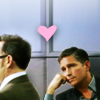 aqua_eyes: reese and finch from person of interest. reese is looking at finch with a little pink heart between them. (SPN - Sam & Dean - Case)