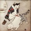 capn_mactastic: Chinese brush style painting of cat painting tabby stripes on another cat (cat painting)